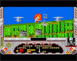 In game image of Hellfire Attack on the Commodore Amiga.