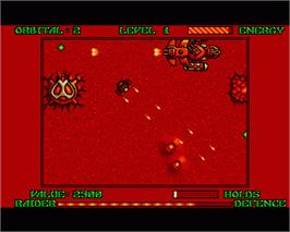 In game image of Hellraider on the Commodore Amiga.