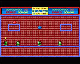 In game image of Helter Skelter on the Commodore Amiga.