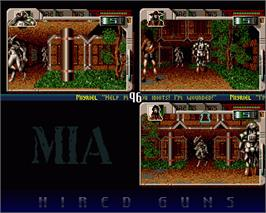 In game image of Hired Guns on the Commodore Amiga.