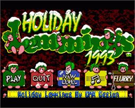 In game image of Holiday Lemmings on the Commodore Amiga.