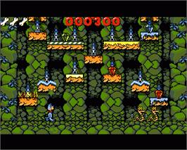In game image of Huckleberry Hound in Hollywood Capers on the Commodore Amiga.