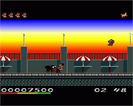 In game image of Hudson Hawk on the Commodore Amiga.