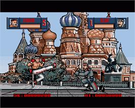 In game image of Human Killing Machine on the Commodore Amiga.