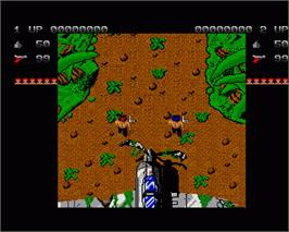 In game image of Ikari Warriors on the Commodore Amiga.