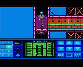 In game image of Impossible Mission 2 on the Commodore Amiga.
