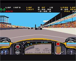 In game image of Indianapolis 500: The Simulation on the Commodore Amiga.