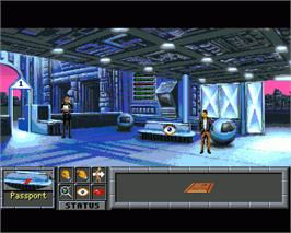 In game image of Innocent Until Caught on the Commodore Amiga.