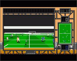 In game image of International Soccer Challenge on the Commodore Amiga.