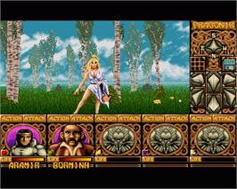 In game image of Ishar: Legend of the Fortress on the Commodore Amiga.