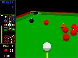 In game image of Jimmy White's Whirlwind Snooker on the Commodore Amiga.