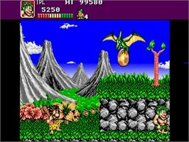 In game image of Joe & Mac: Caveman Ninja on the Commodore Amiga.