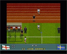 In game image of John Barnes' European Football on the Commodore Amiga.