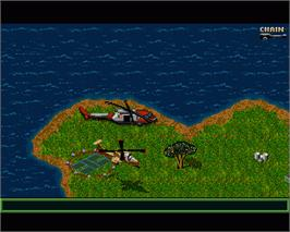 In game image of Jungle Strike on the Commodore Amiga.