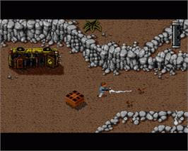 In game image of Jurassic Park on the Commodore Amiga.