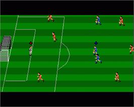 In game image of Kenny Dalglish Soccer Match on the Commodore Amiga.