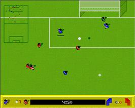 In game image of Kick Off on the Commodore Amiga.