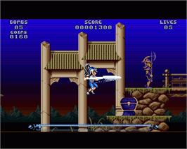 In game image of Leander on the Commodore Amiga.