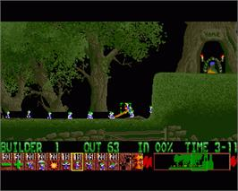 In game image of Lemmings on the Commodore Amiga.