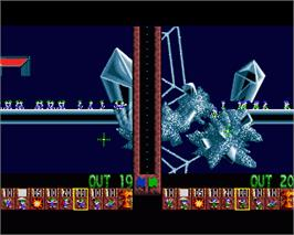 In game image of Lemmings 2: The Tribes on the Commodore Amiga.