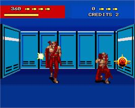 In game image of Line of Fire / Bakudan Yarou on the Commodore Amiga.