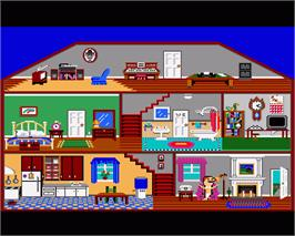 In game image of Little Computer People on the Commodore Amiga.