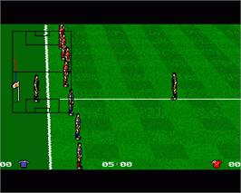 In game image of Liverpool: The Computer Game on the Commodore Amiga.