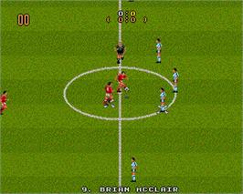 In game image of Manchester United Europe on the Commodore Amiga.