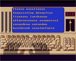 In game image of Mavis Beacon Teaches Typing on the Commodore Amiga.