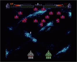In game image of Mega Phoenix on the Commodore Amiga.