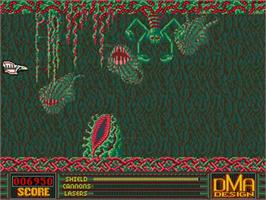 In game image of Menace on the Commodore Amiga.
