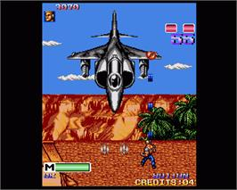 In game image of Mercs on the Commodore Amiga.