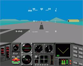 In game image of MiG-29 Fulcrum on the Commodore Amiga.