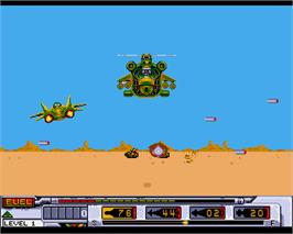 In game image of Mig-29 Soviet Fighter on the Commodore Amiga.
