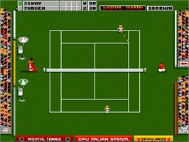 In game image of Mikro Mortal Tennis on the Commodore Amiga.