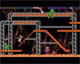 In game image of Monster Business on the Commodore Amiga.