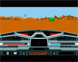 In game image of Moon Blaster on the Commodore Amiga.