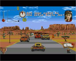 In game image of Moonshine Racers on the Commodore Amiga.
