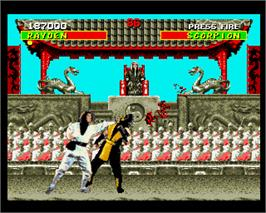 In game image of Mortal Kombat on the Commodore Amiga.