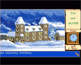 In game image of Mortville Manor on the Commodore Amiga.