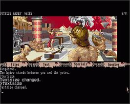 In game image of Myth: History in the Making on the Commodore Amiga.