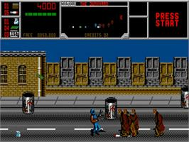 In game image of Narc on the Commodore Amiga.