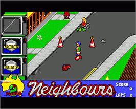 In game image of Neighbours on the Commodore Amiga.