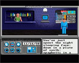 In game image of Neuromancer on the Commodore Amiga.