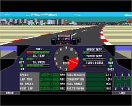 In game image of Nigel Mansell's Grand Prix on the Commodore Amiga.