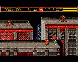 In game image of Ninja Gaiden II: The Dark Sword of Chaos on the Commodore Amiga.