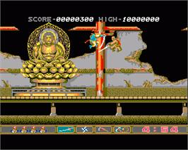 In game image of Ninja Spirit on the Commodore Amiga.