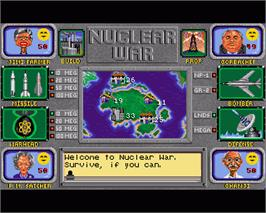 In game image of Nuclear War on the Commodore Amiga.