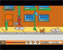 In game image of Oliver & Company on the Commodore Amiga.