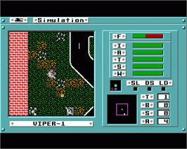 In game image of Omega on the Commodore Amiga.